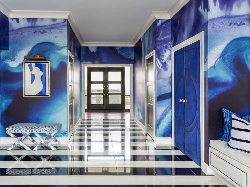 Blue hallway by Tobi Fairley