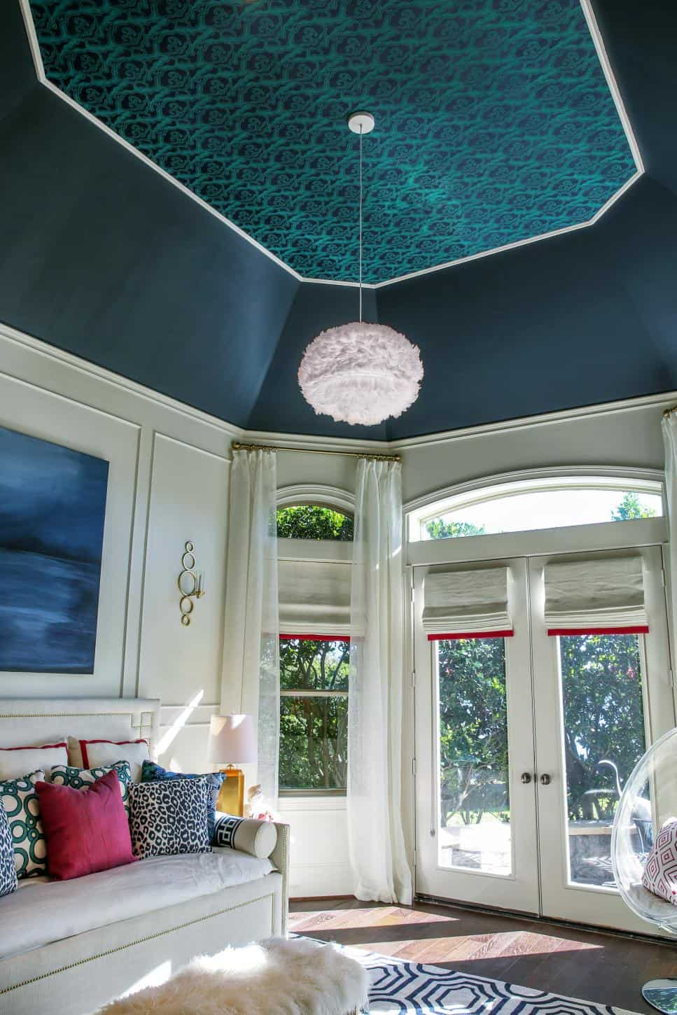 Blue vaulted ceiling
