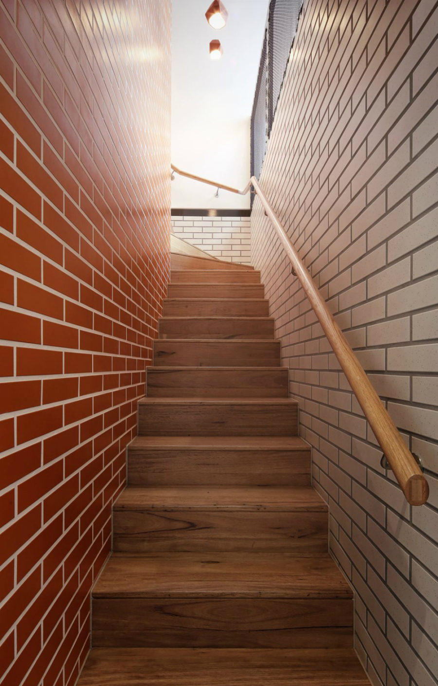 Brick walls surrounding a staircase