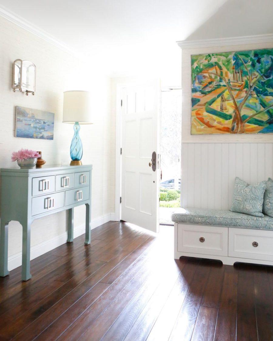 Chic cottage hallway design by Lara Fishman
