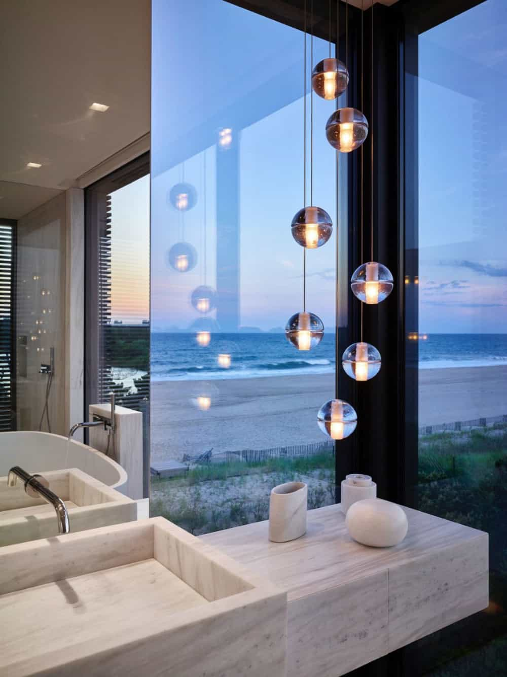 Clustered pendants add a luxury touch to the bathroom