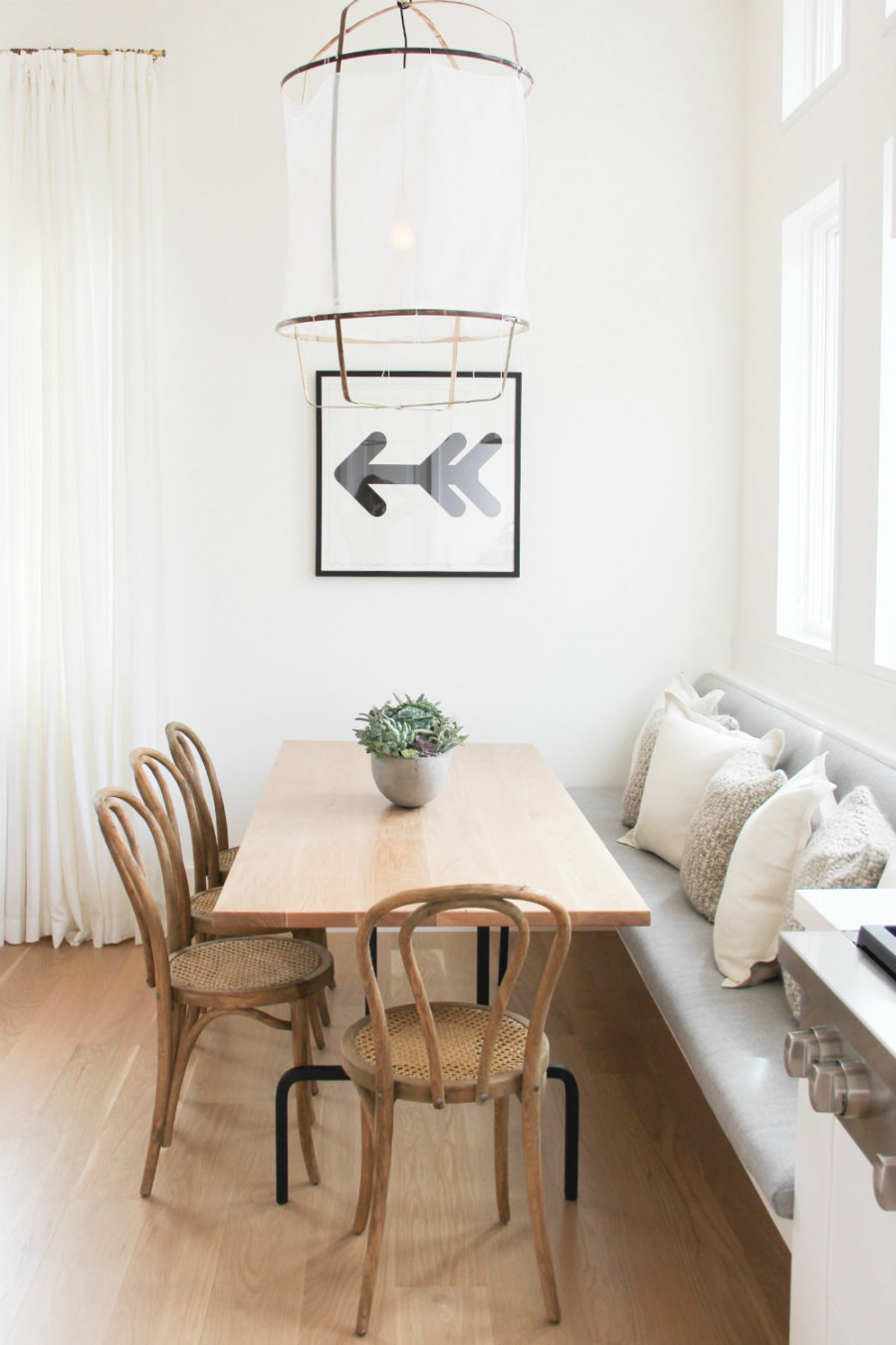 Dining area with a bench