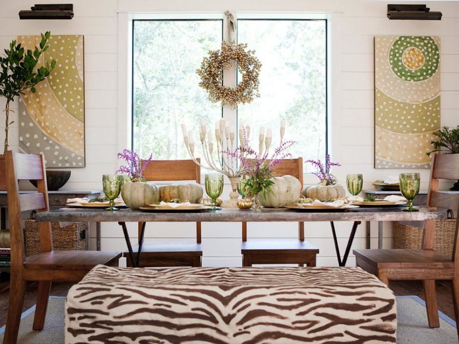 Dining room seat dressed in zebra stripes