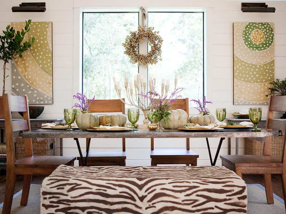 Dining room seat dressed in zebra stripes