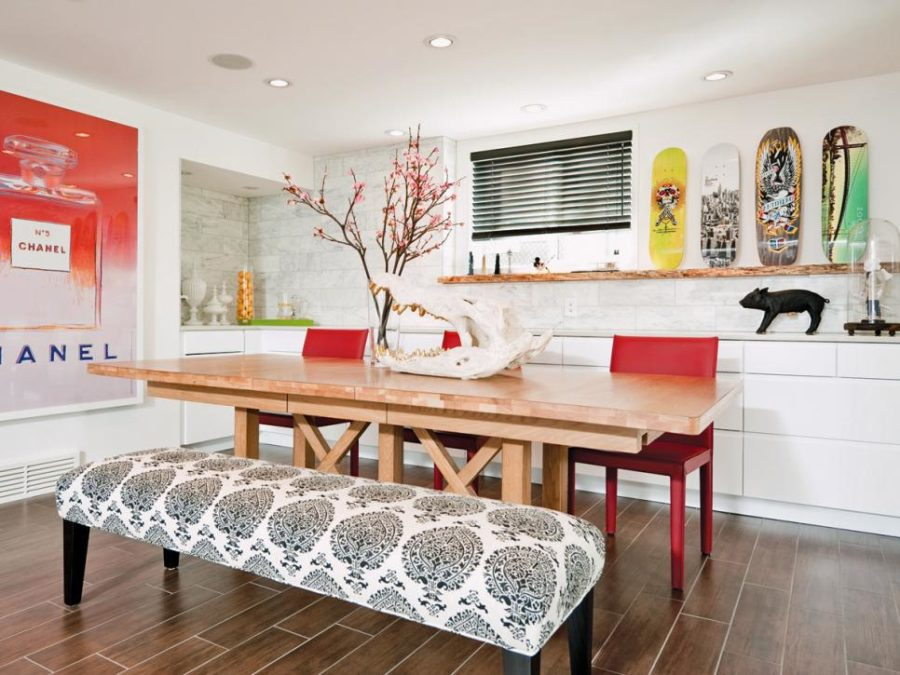 Eclectic Dining Room With A Printed Upholstered Bench