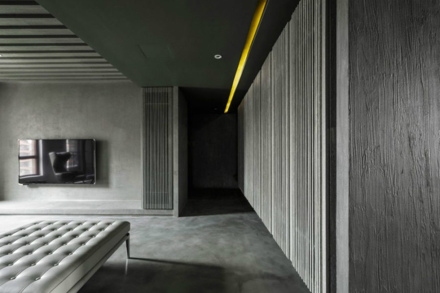 Elegant grey color scheme rules the bigger part of the interior 900x599 Monochromatic Private Home in Shanghai Uses Concrete as Color Base