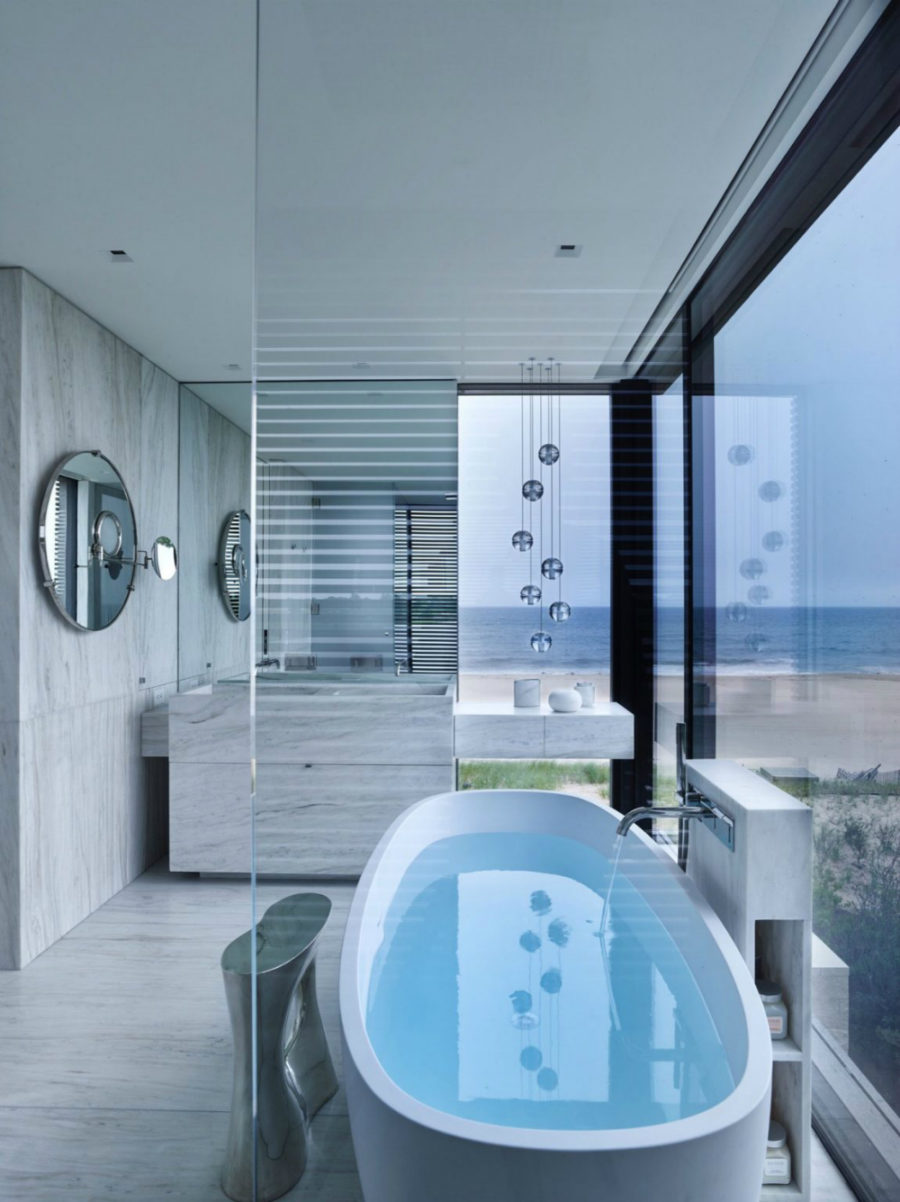 Even bathroom enjoys views of the ocean