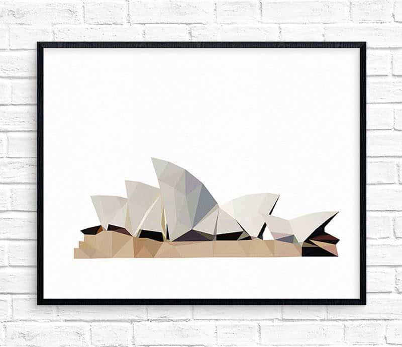 Geometric Sydney Opera House Print by Studio Ush