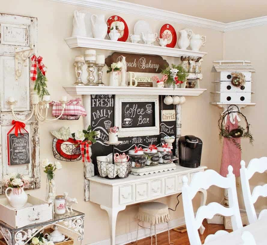 Re-purposed Vintage Desk As A Coffee And Cookie Bar At Christmas