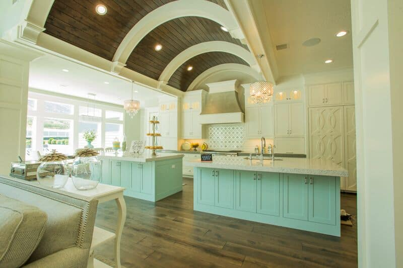 In addition to built-in lights the kitchen boasts two crystal chandeliers