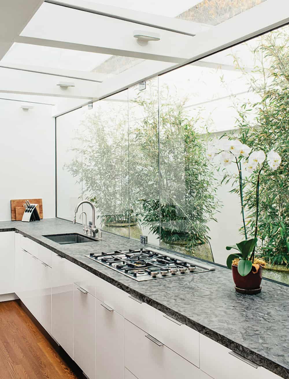 Kitchen glass wall