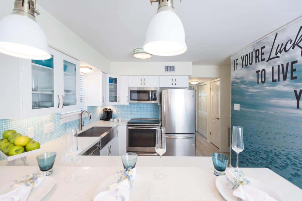 Kitchen with a photographic mural