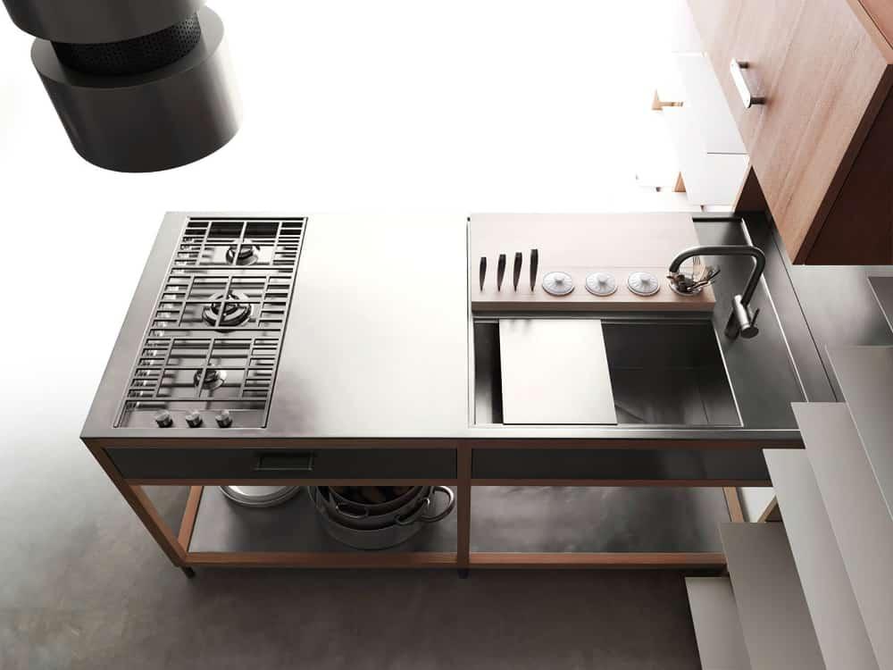 Lando Covivio modular kitchen with angled sink