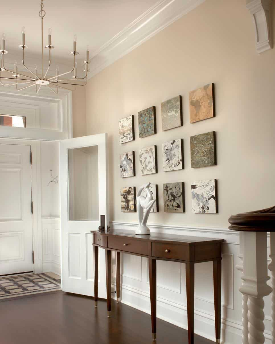 Lauren Coburn entryway with square wall art
