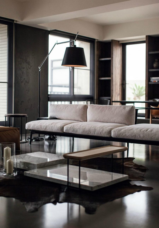 Living room furniture arrangement is quite unusual