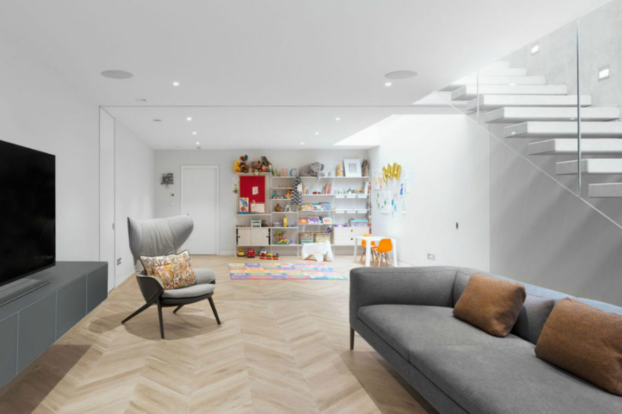 Living room with an adjoined play area
