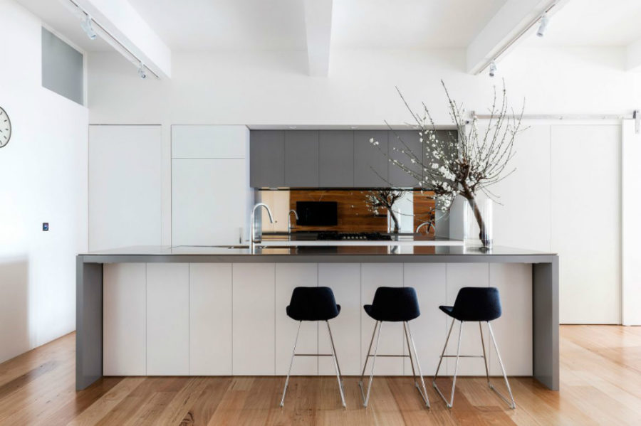 Minimal contemporary kitchen in white and grey