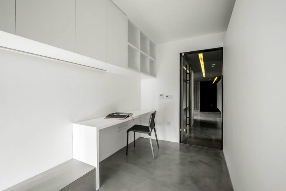 Minimal home office is a distraction-free space with a built-in desk