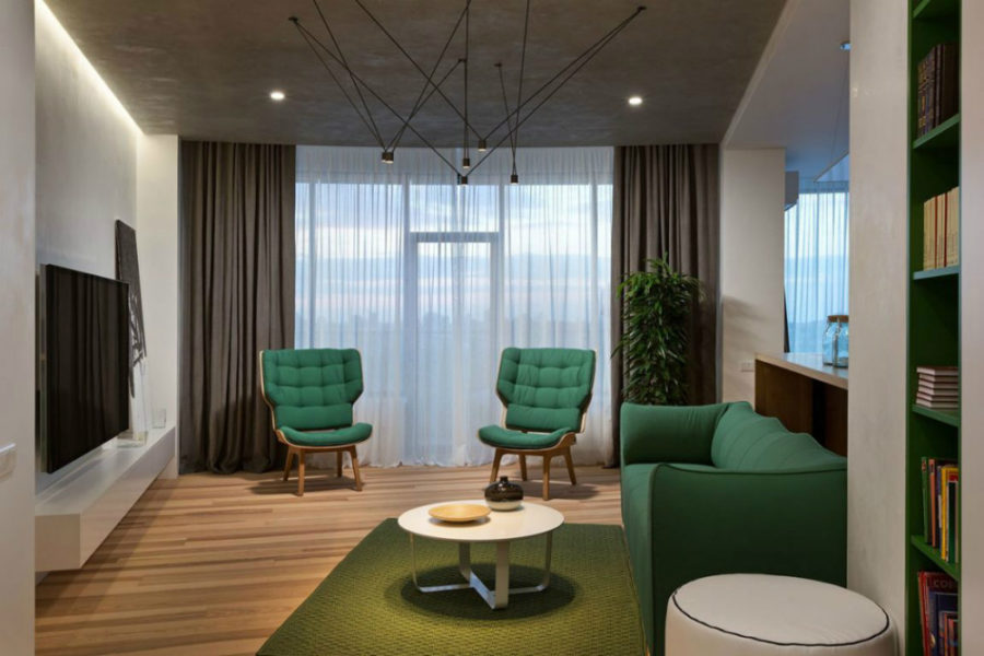 Neutral living room has lots of bright green as accent color 900x600 Minimal Apartment in Kiev Has a Lot to Show