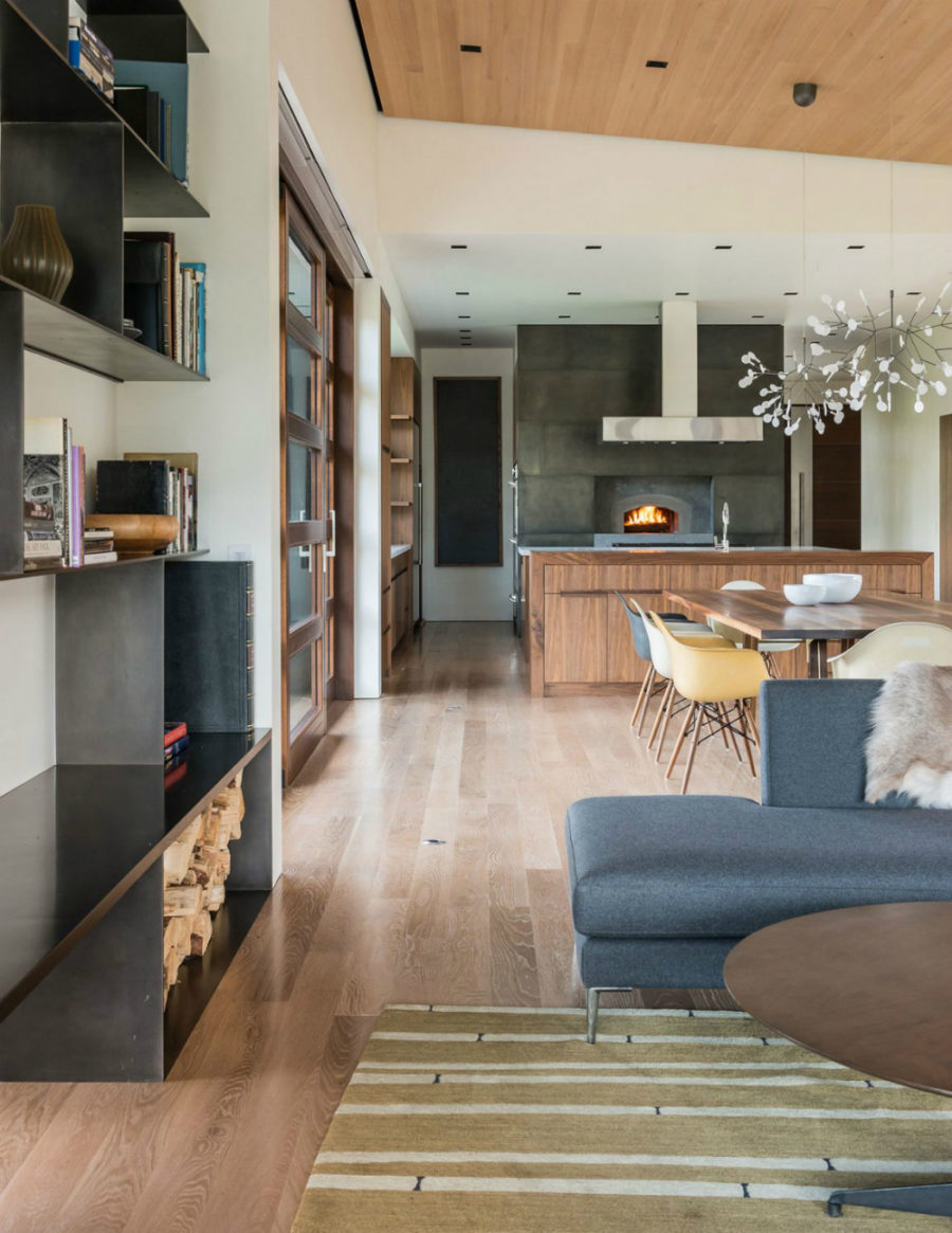 Open layout adjoins the living room, kitchen, and dining