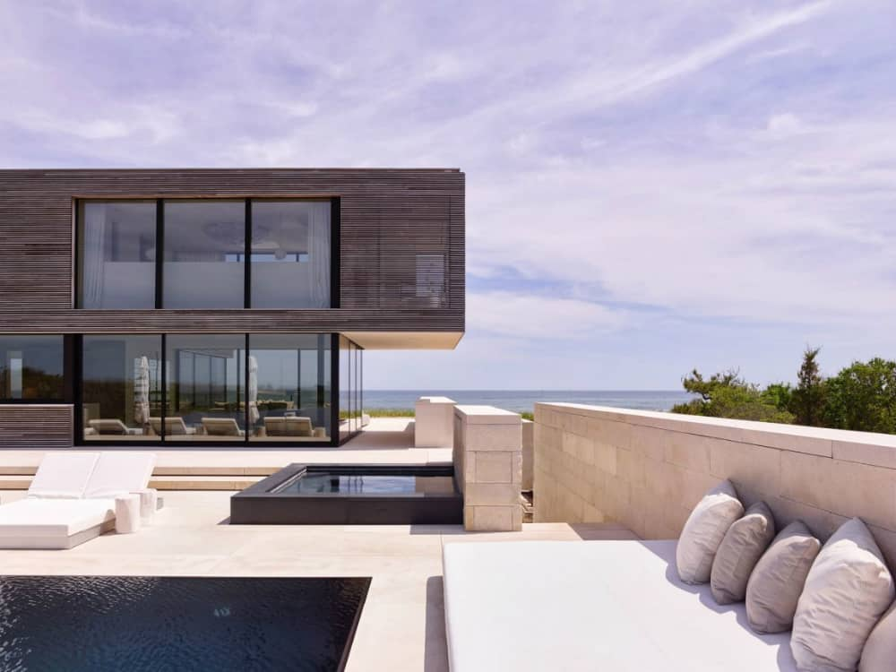 Outdoor lounge space full of water features