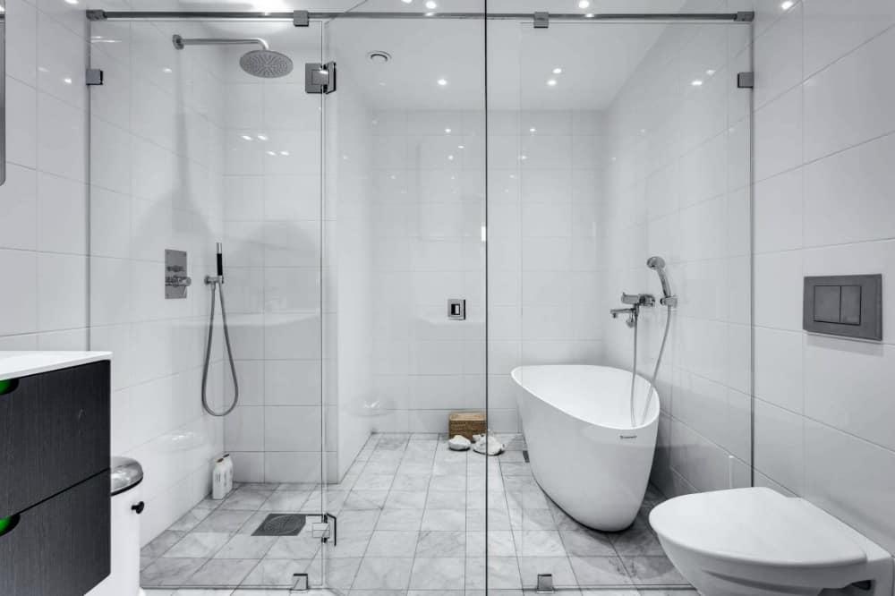 Pristine white bath combines bathtub and shower