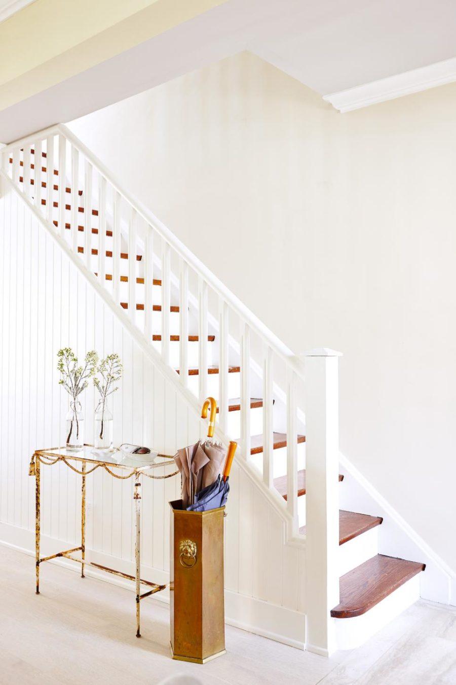Pristine white hallway by Sarah Richardson