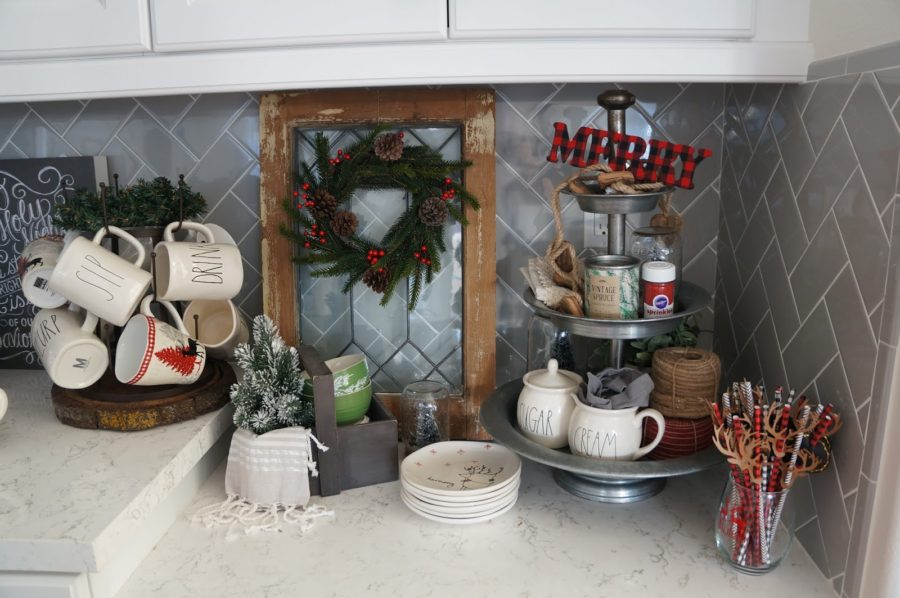 Self-Serve Coffee And Hot Cocoa Corner As Christmas Decorations