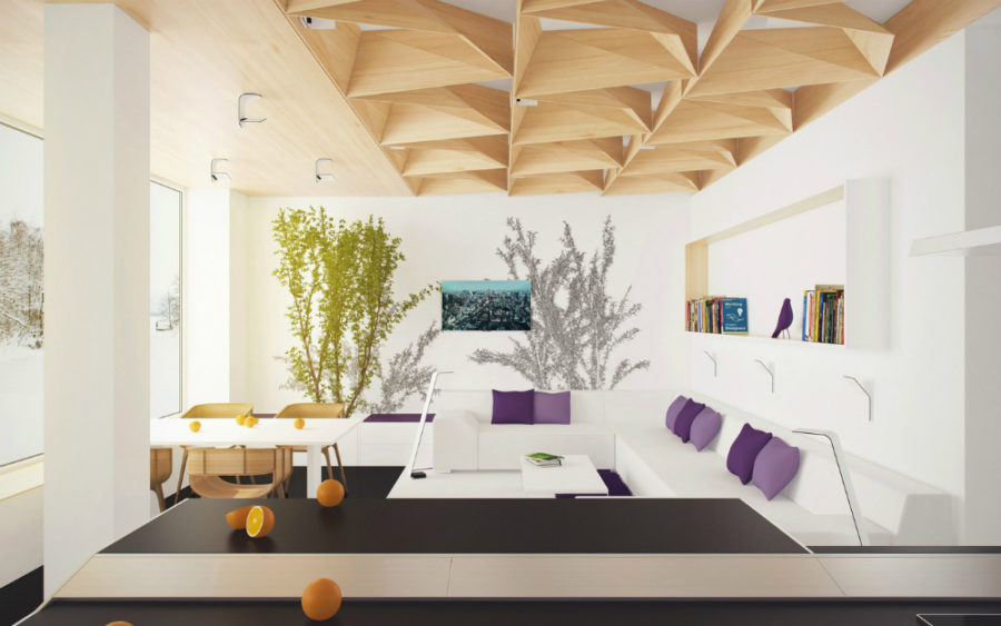 Unique ceiling design by PLASTERLINA  View in gallery Showme Design living  room
