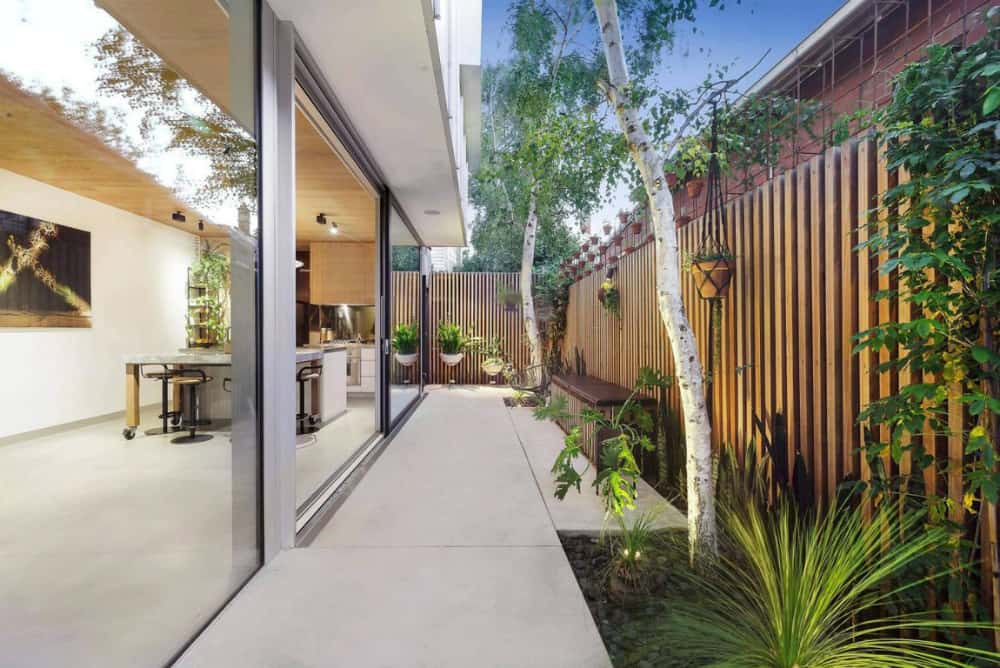 Small backyard with a fancy fence