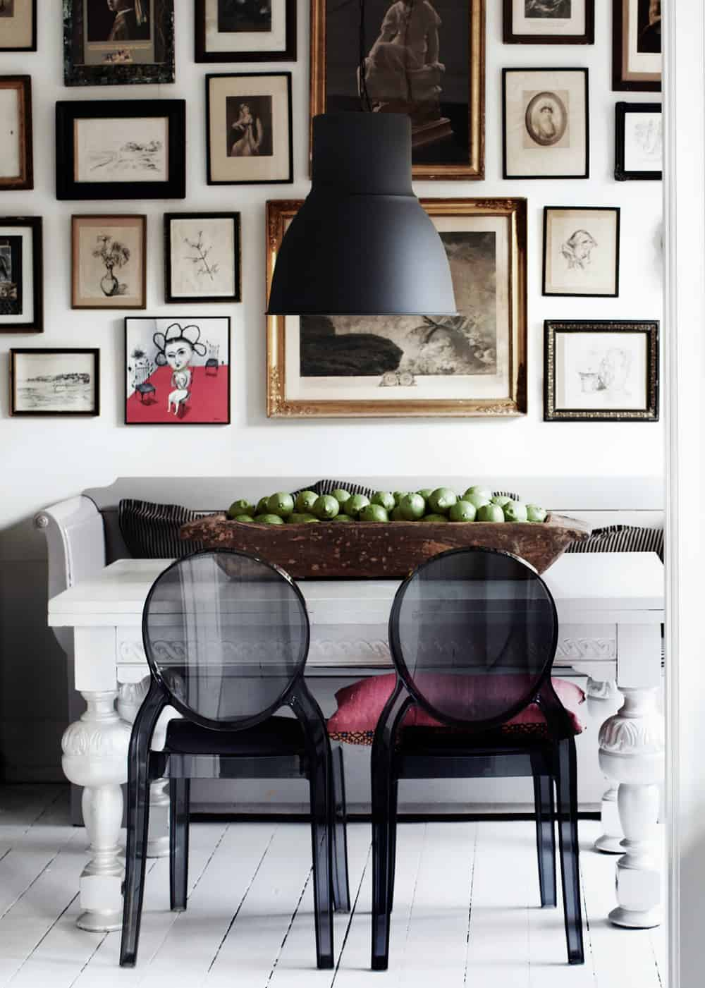 Sofa bench in an eclectic dining room