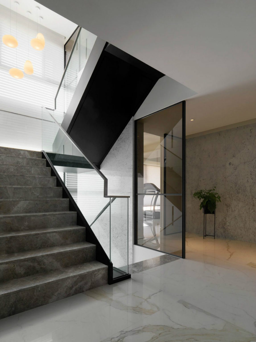 Staircase comes with glass railings