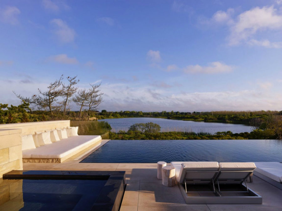 Swimming pool boasts lake views