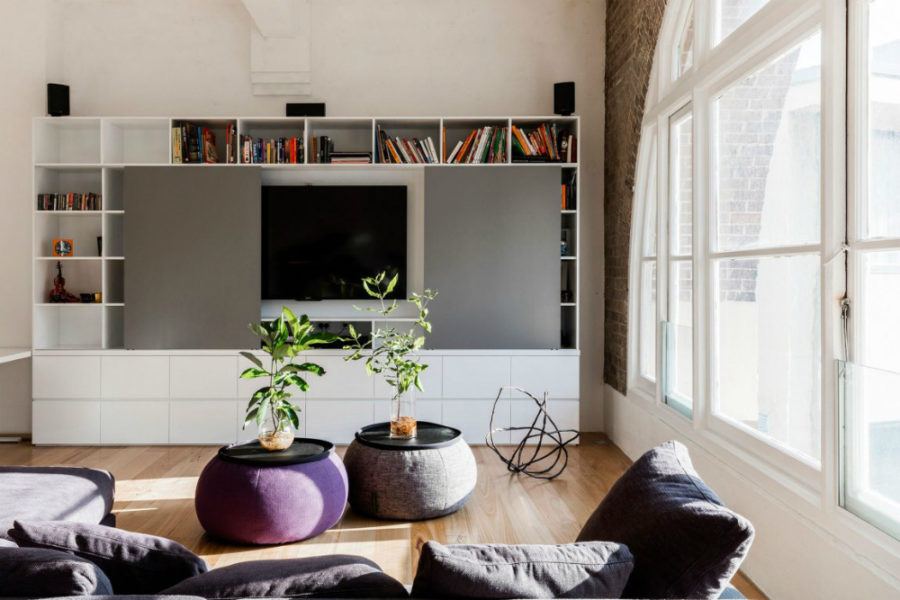 TV wall with cubby storage