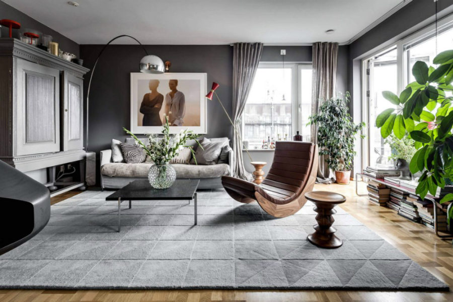 Tasteful living room in grey tones 900x599 Stylish in Stockholm: Contemporary Apartment With Flair by Alexander White