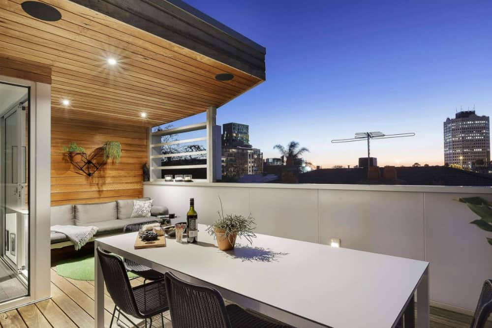 Terrace offers views of the city