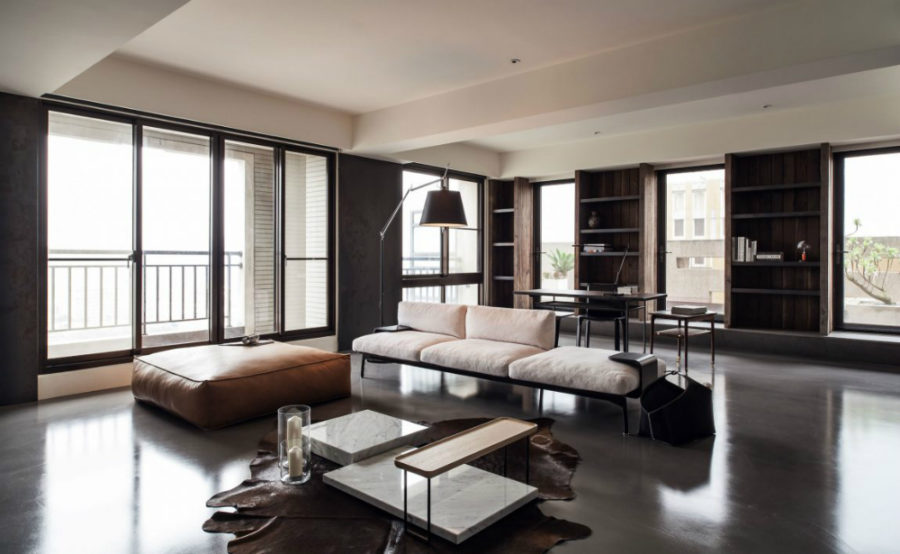 The living room is spacious and bright 900x554 This Stylish Concrete Home in Taipei is Refined Simplicity