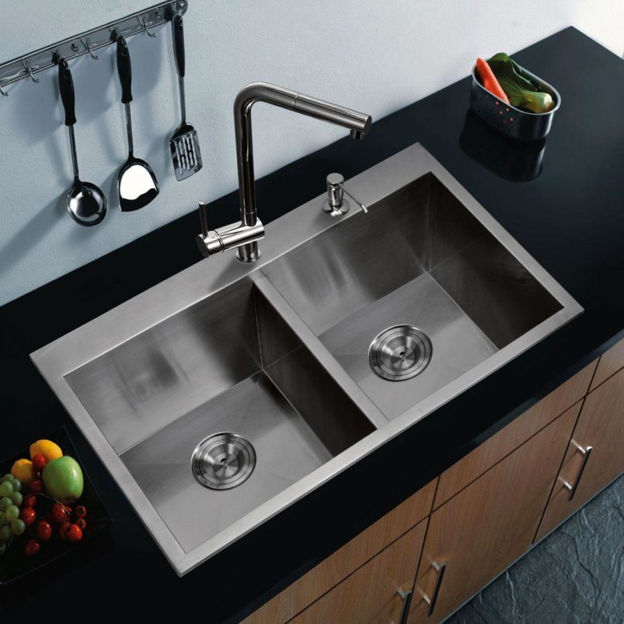 View In Gallery Top Mount Zero Radius Stainless Steel Double Bowl Kitchen Sink