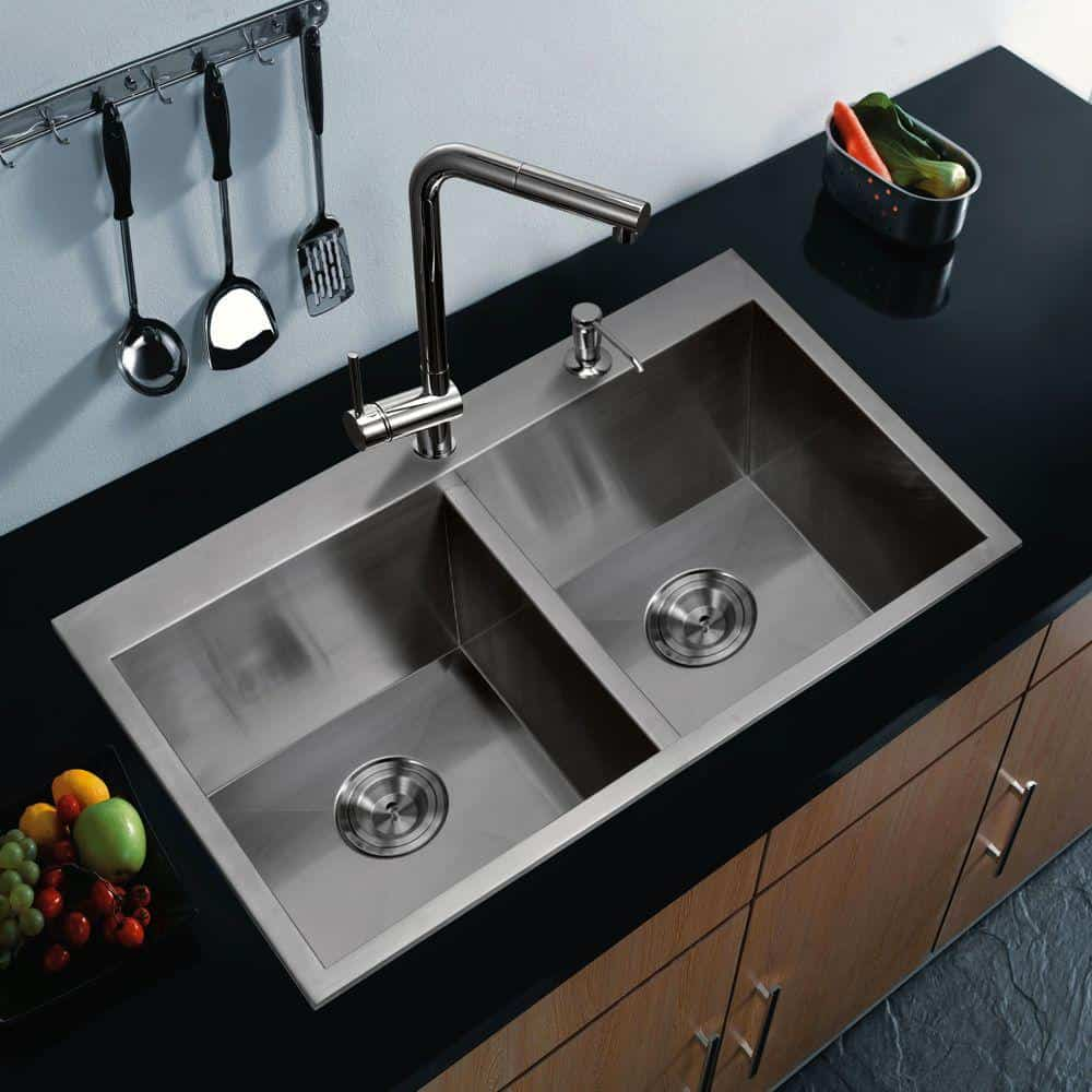 Top Mount Zero Radius Stainless Steel Double Bowl kitchen sink