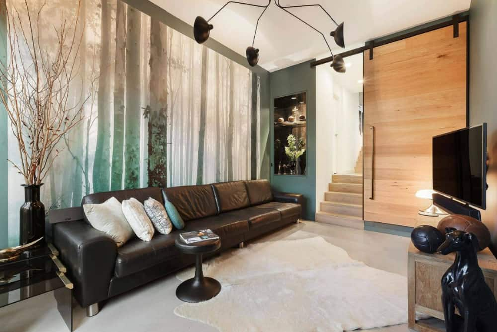 Wall mural in the living area echoes the nature