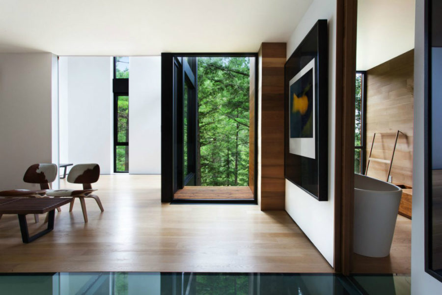 Wood-clad interiors come with modernist furnishings