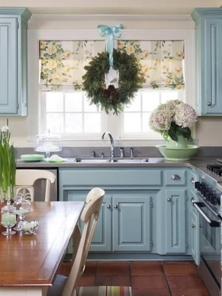 blue kitchen green wreaths