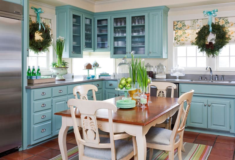 Blue and Green Christmas Kitchen with Wreaths