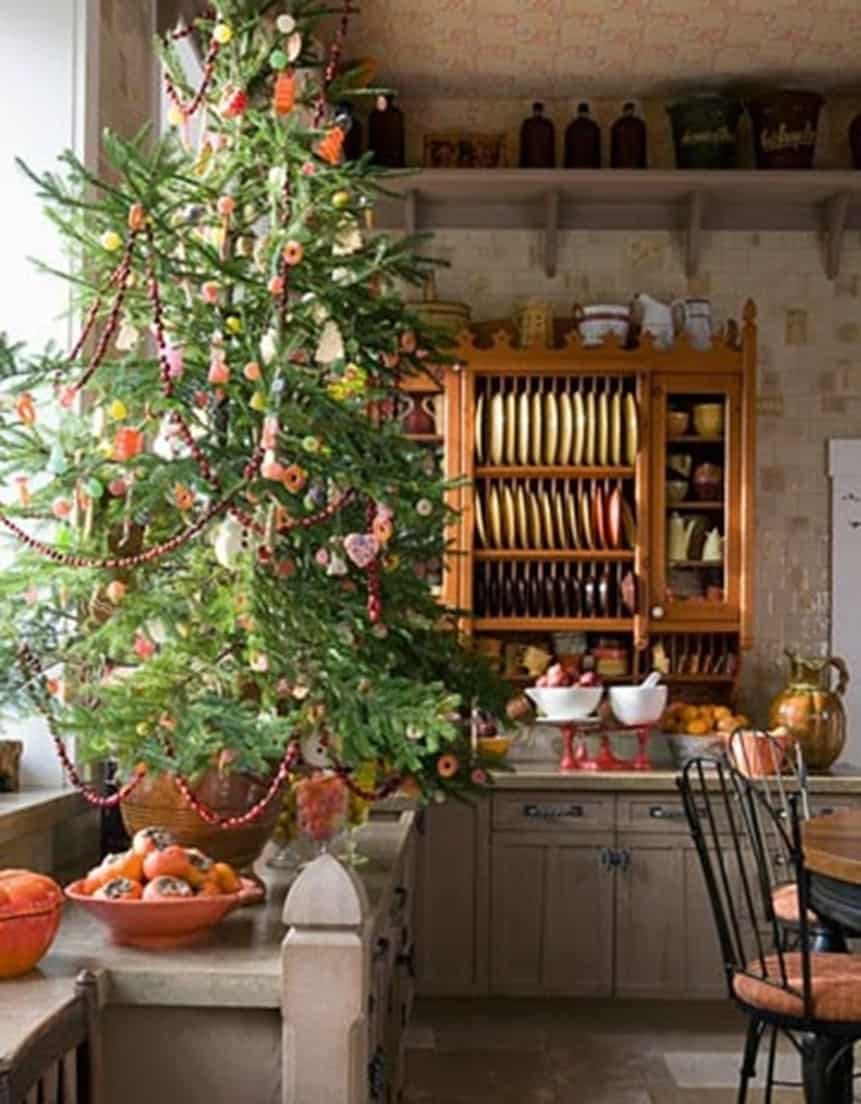 christmas tree in farm kitchen and dining room