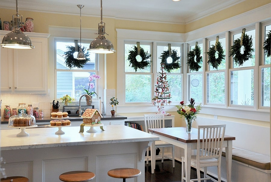 elegant christmas wreaths in kitchen