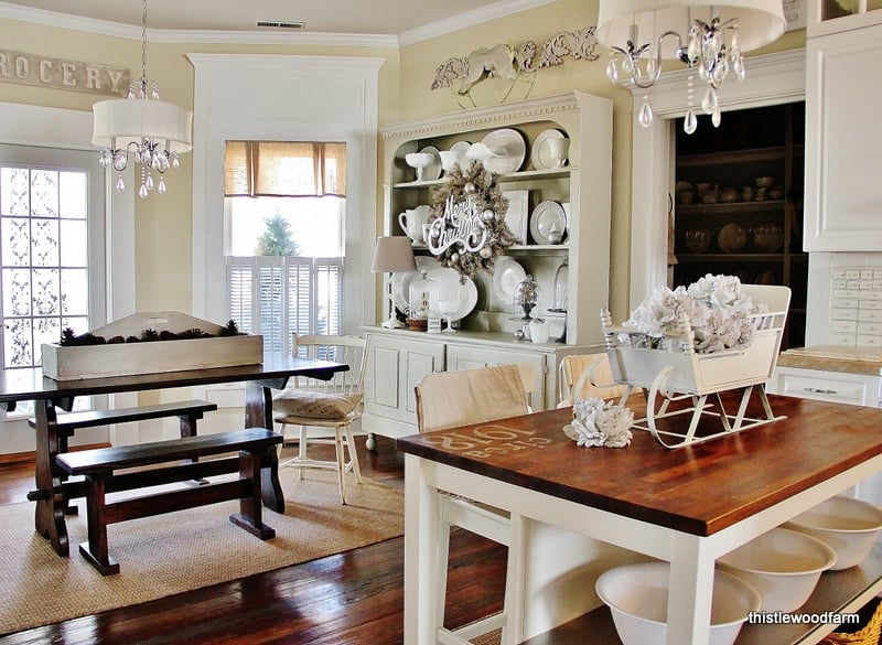 farmhouse all white kitchen and dining room