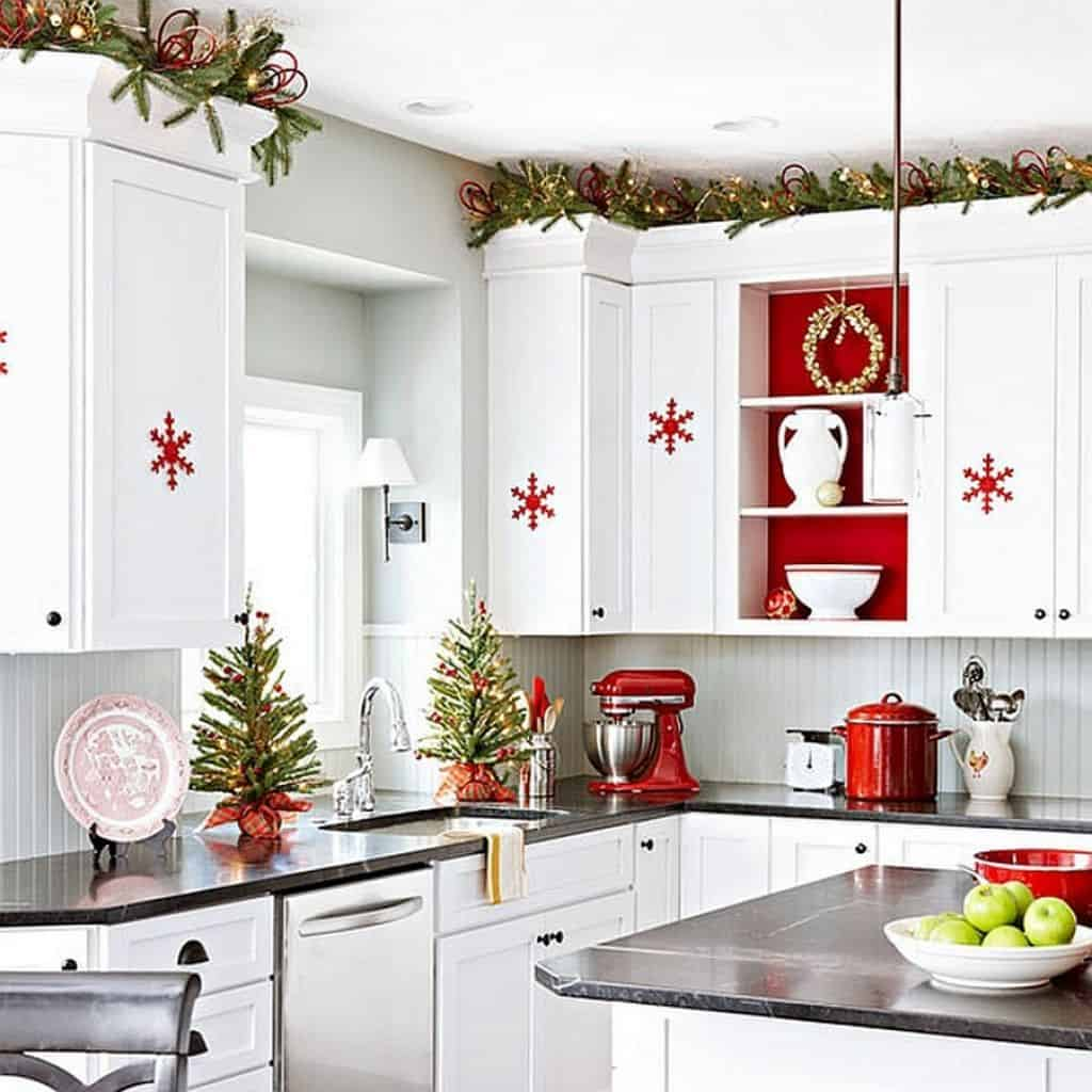 red and white christmas decorations in kitchen