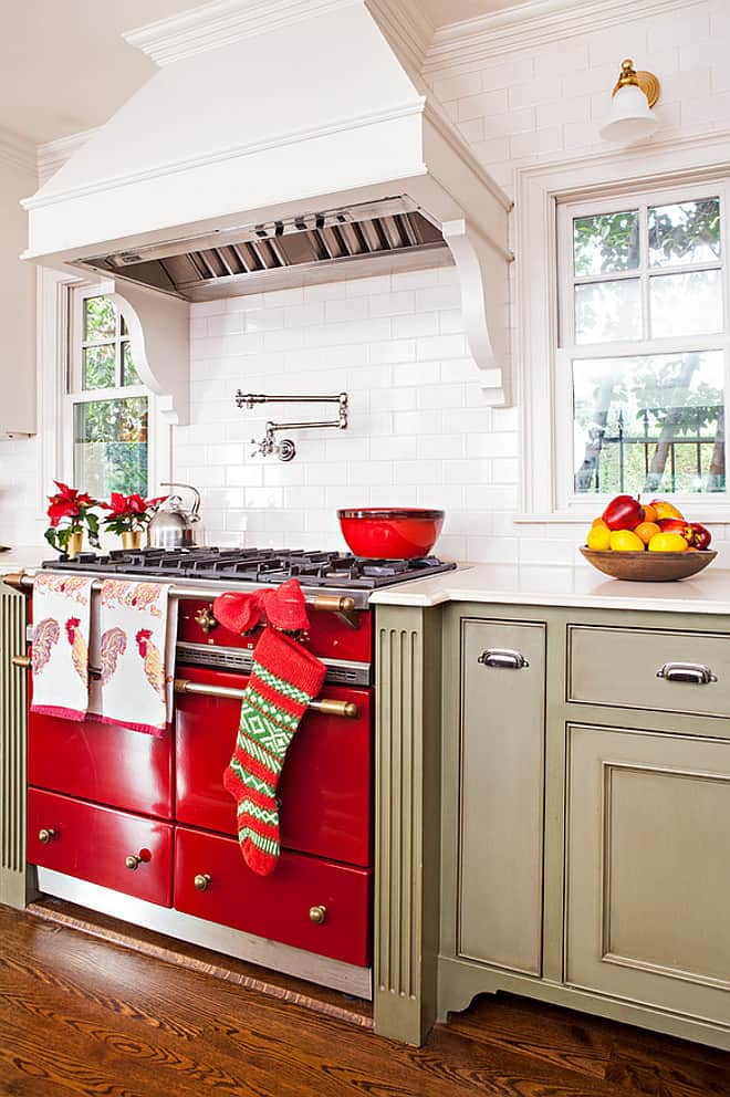 red oven and red accents in kitchen for christmas