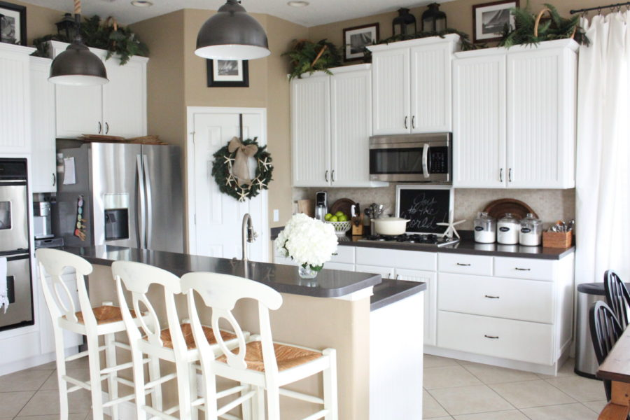 View in gallery starfish wreath in coastal christmas kitchen