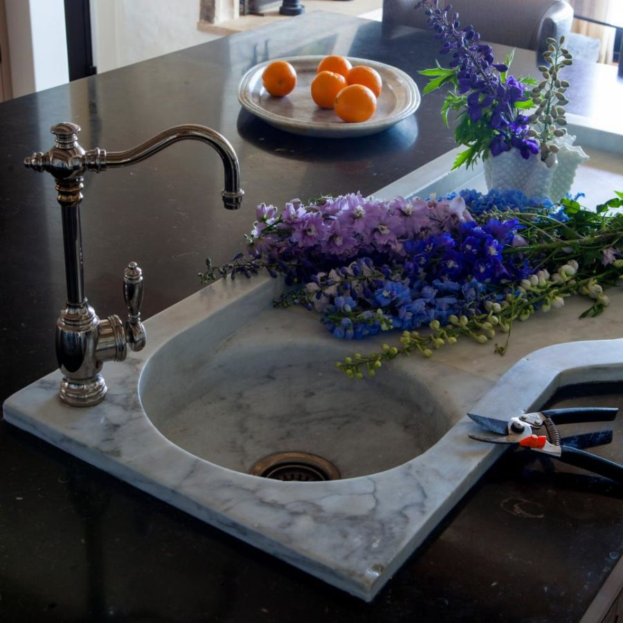 with Custom Built Marble Sink